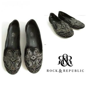 Rock and Republic black embellished loafers flats